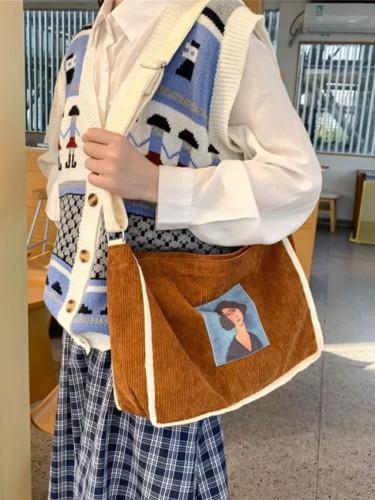 Ladies Corduroy Shoulder Bags Messenger Bag Zipper Book Handbag