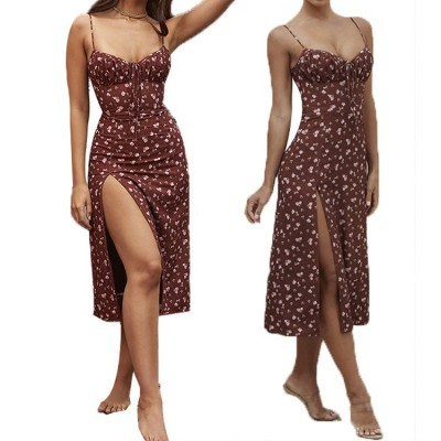 Pink Spaghetti-Strap V Neck Dresses