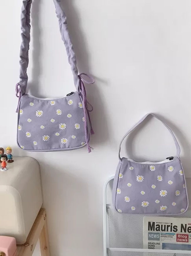 Ladies' Canvas Underarm Bag Daisy Tote Zipper Half Moon Crossbody & Shoulder Bags