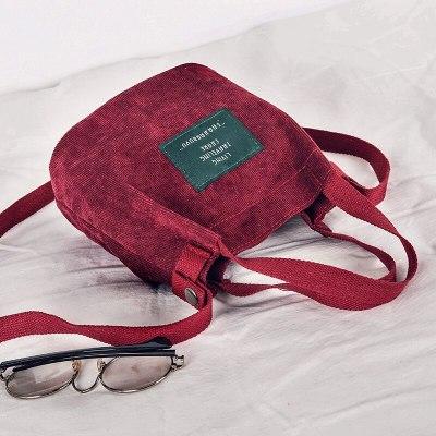 Women's Mini Corduroy Shoulder Bag Casual Handbag Vintage Purse