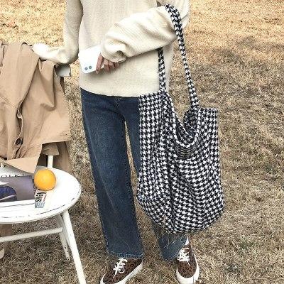 Women Woolen Canvas Bags Big Tote Casual Shoulder Shopping Bag
