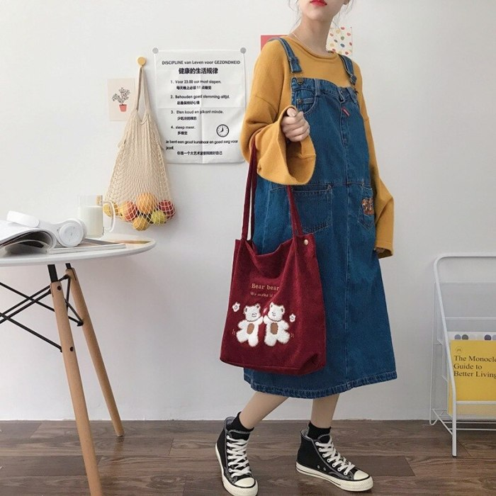 Corduroy Shoulder Bag Bears Embroidery Striped Canvas Eco Tote