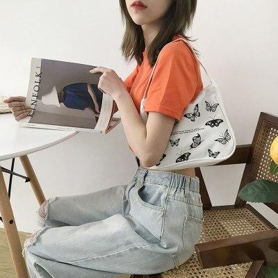 Spring Women Small Handbag Butterfly Print Canvas Tote Fashion Underarm Bag
