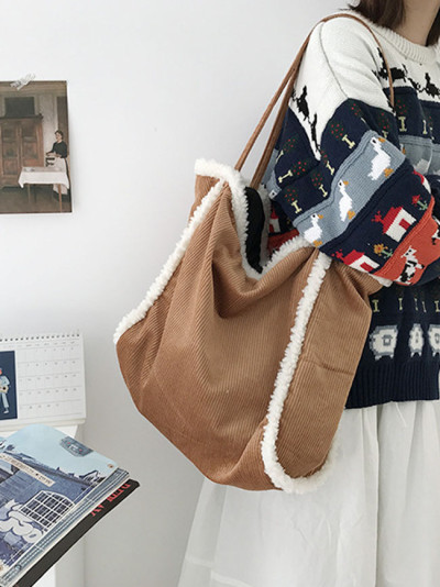New Corduroy Bag Simple Canvas Shoulder Bag Large Capacity Handbag