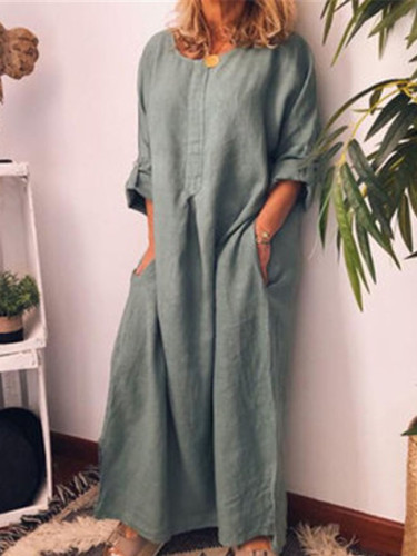 Plain Casual V Neck Linen Dresses