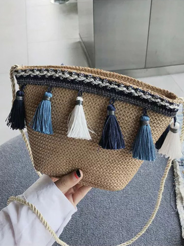 Summer Women Fringed Ethnic Wind Woven Straw Weave Handbag Shoulder Messenger Bags