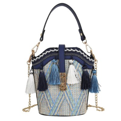 Vintage Beach Straw Bags Ethnic Style Ribbon Tassel Beach Straw bag