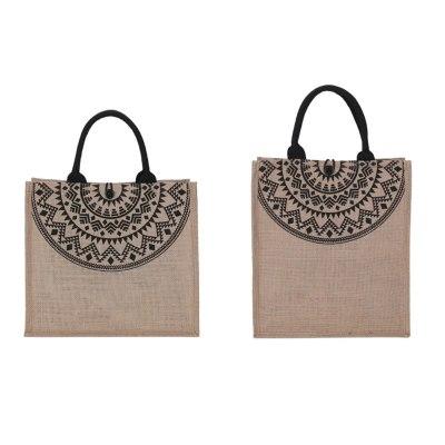 Shoulder Shopping Bag Simple Cotton Linen Handbag Women Ethnic Style Tote