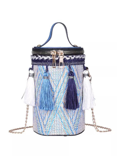Handbag Straw bag Round Tote Hand Metal Ring Tassel Chain Shoulder Travel bag