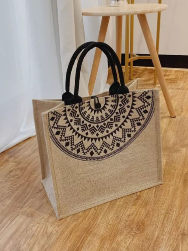 Shoulder Shopping Bag Simple Cotton Linen Handbag Women Ethnic Style Tote