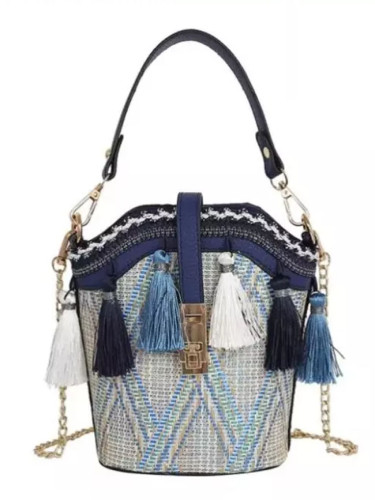 Vintage Beach Straw Bags Ethnic Style Ribbon Tassel Beach Straw bag