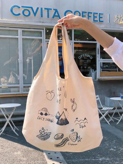 One-shoulder portable canvas bag female cute cartoon illustration tote bag