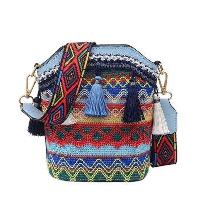 Vintage Ethnic Shoulder Bag Embroidered Bohemia Tassel Tote