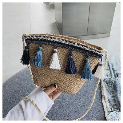 Summer Women Fringed Ethnic Wind Woven Straw Weave Handbag Shoulder Messenger Bags