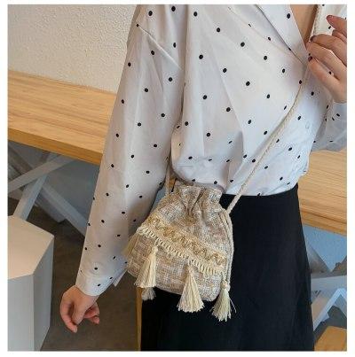 Ethnic style tassel bucket bag hemp rope Small Bag shoulder messenger bag