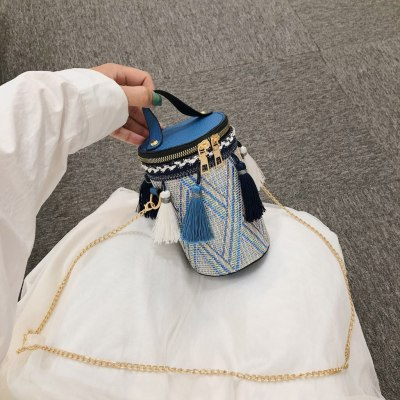 Handbag Straw bag Round Tote Hand Metal Ring Tassel Chain Shoulder Travel bag