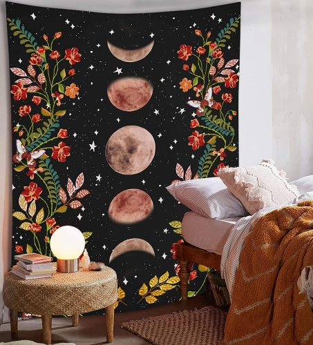 Moon Tapestry Psychedelic Flower Tapestry Wall Hanging Starry Sky Home Decoration