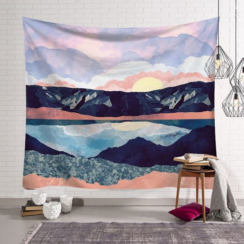 Tapestry Travel Sunrise Oil Painting Pattern Yoga Pad Carpet Beach Blanket