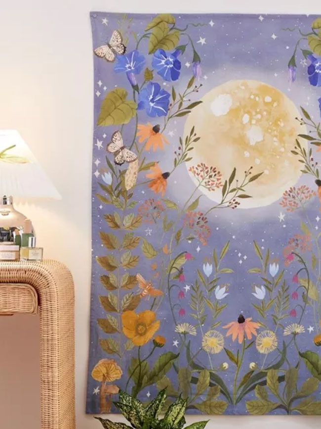 Psychedelic Moon Tapestry Wall Hanging Celestial Floral Wall Tapestry