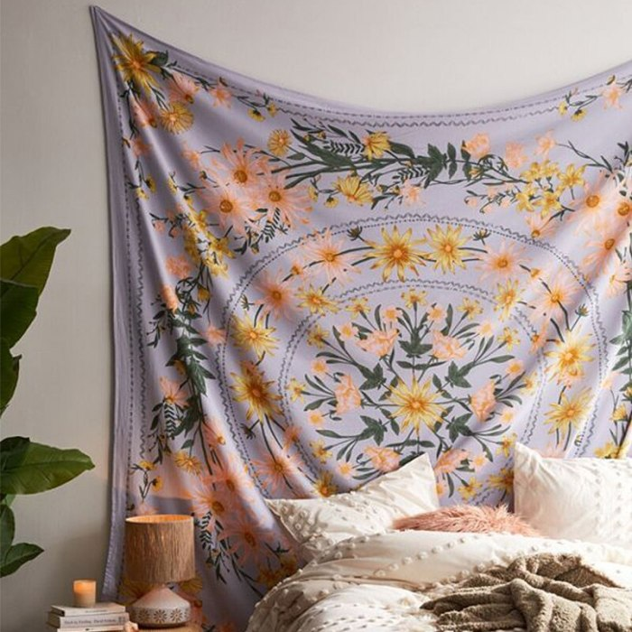 Mandala Flower Psychedelic Bohemian Tapestries Printed Wall Decor Home Decor