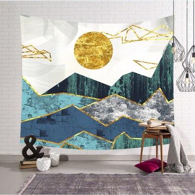 Tapestry Travel Sunrise Oil Painting Pattern Yoga Pad Carpet Beach Blanket