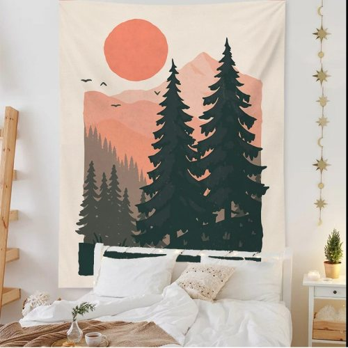 Nordic Decor Sun Forest Tapestry Flower Plant Room Decoration