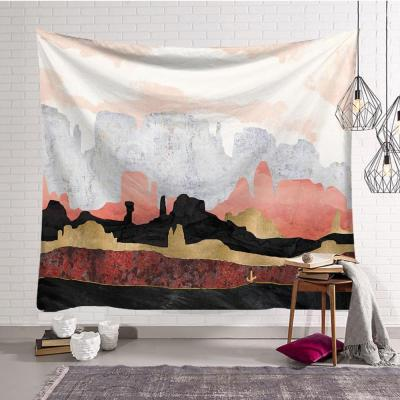 Tapestry Travel Camping Mat Sunrise Oil Painting Pattern Yoga Pad Sleeping Carpet Beach Blanket