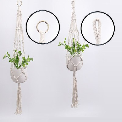 Macrame Wall Hanging Decoration Net Handmade Woven Pure Cotton Rope Beads Boho Decor