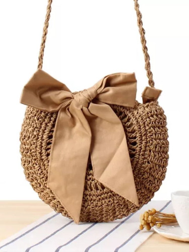 Messenger Bag Cute Bow Tie Woven Bag Round Straw Bag Handbag