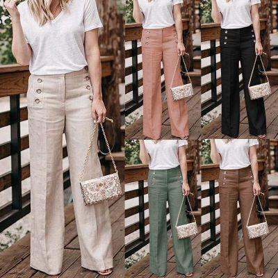 Summer New Cotton Linen Women Wide Legs Pants Casual High Waist Button Trousers