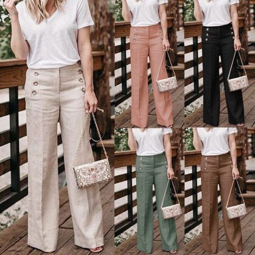 Summer New Cotton Linen Women Wide Legs Pants Casual High Waist Button Trousers