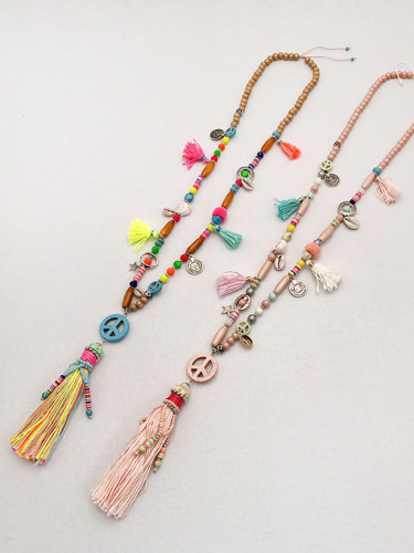 Handmade Vintage Ethnic Necklace Wood Beaded Long Tassel Sweater Necklace