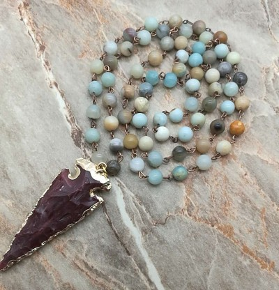 Stone Gilded Arrowhead Pendant Necklace Women Natural Stone Bead Chain Necklace