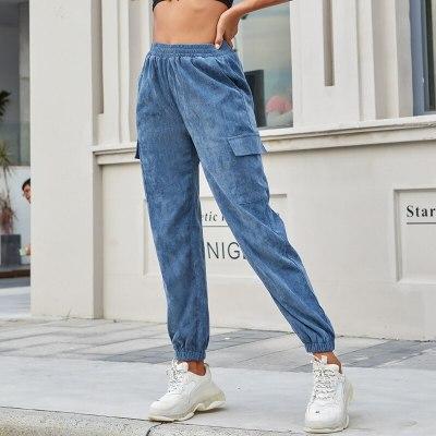 Women's Spring Autumn Winter High Waist Blue Brown Corduroy Pants Trousers