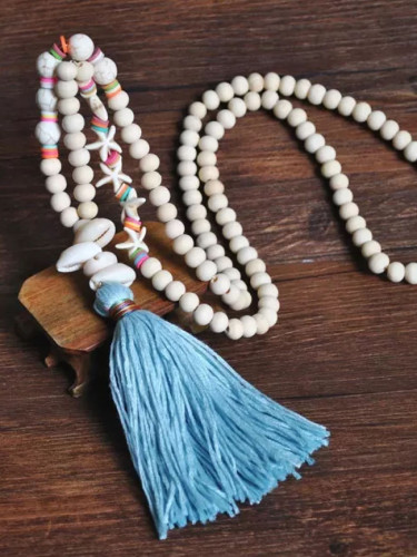 Bohemian Ethnic Handmade Summer Beach Wood Beaded Shell Necklace Vintage