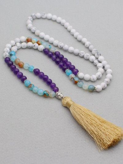 Matte Natural Stones With Micro Tassel Necklace Handmade Necklace