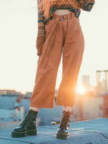 Vintage Pants High Waist Autumn Ankle Length Pants Ladies Solid Leg Pants