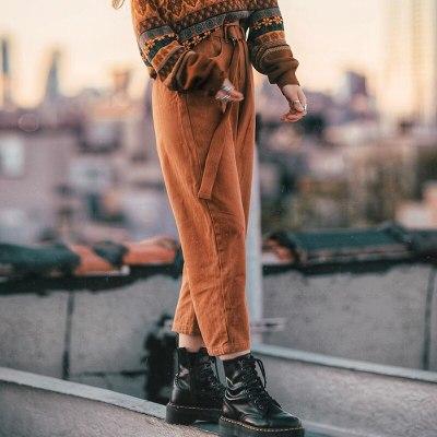 Vintage Pants High Waist Autumn Ankle Length Pants Ladies Solid Leg Pants