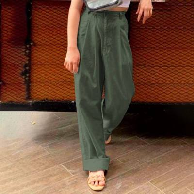 Fashion Pants High Waist Pockets Harem Trouser Autumn Casual Loose Vintage Linen Pants