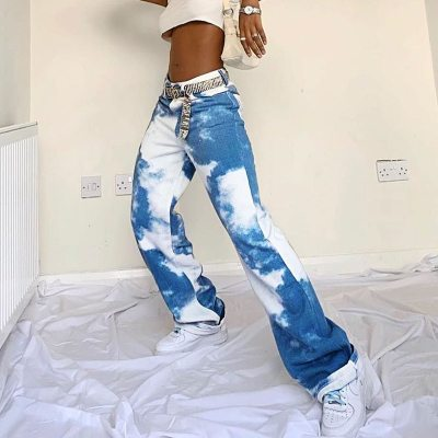 Y2K Casual Tie Dye Print Joggers Pants Fashion High Waist Pants Long Trousers