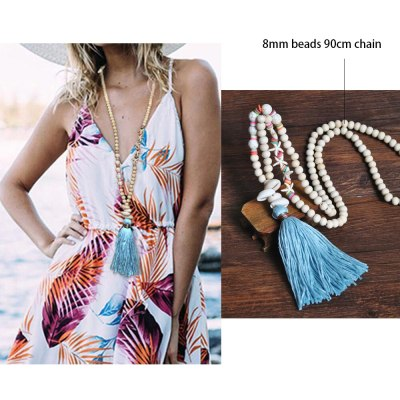 Boho Necklace Heart Nature Stone Long Tassel Necklace For Women
