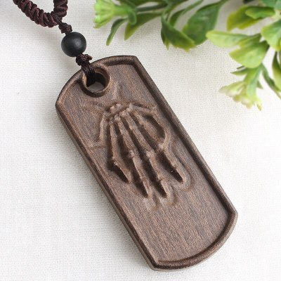 National Style Retro Long Sweater Chain Necklace Simple Handmade Wooden Pendant