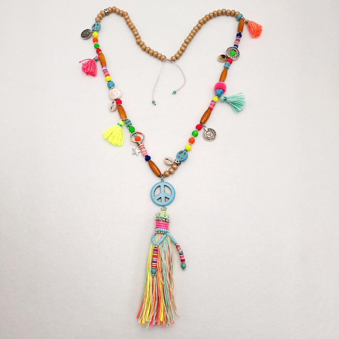 Handmade Vintage Ethnic Necklace Wood Beaded Long Tassel Sweater Necklace