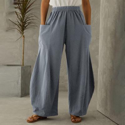 Wide Leg Trousers Autumn Pants Women Vintage Elastic Waist Solid Casual Cotton Linen