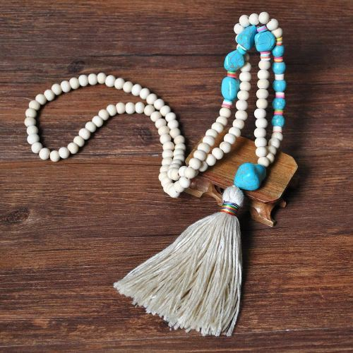 Natural White Stone Beads and Blue Turquoise Bracelet Necklace Beads Jewelry
