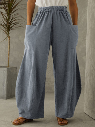 Wide Leg Trousers Autumn Pants Women Vintage Elastic Waist Solid Casual Cotton Linen