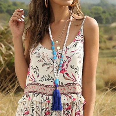 Bohemian Ethnic Handmade Summer Beach Wood Beaded Shell Necklace Vintage