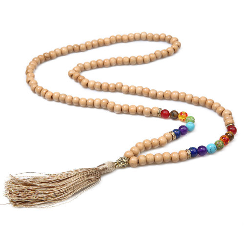 Fashion Natural Stone Leopard Strpe beads Knotted Long Tassel Necklace