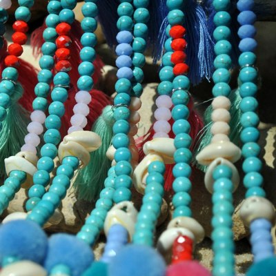 Ethnic Bohemian Handmade Summer Beach Wood Beaded Shell Necklace Vintage