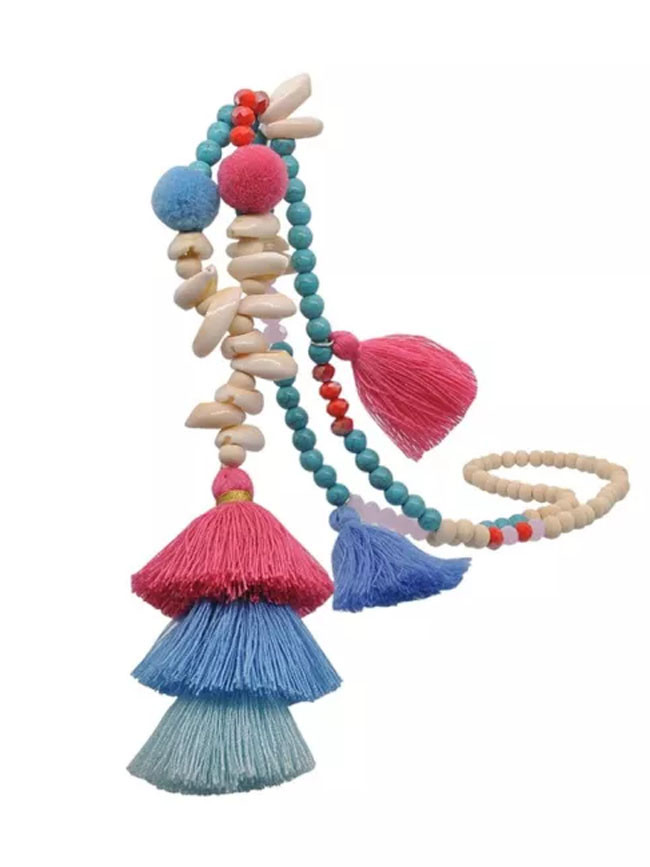 Ethnic Bohemian Handmade Summer Beach Wood Beaded Shell Necklace Vintage